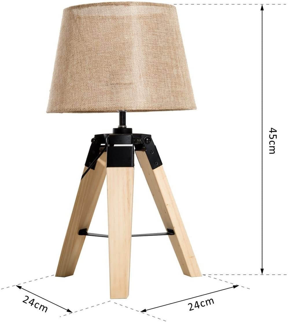 Lámpara de mesa madera medidas