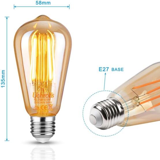 Bombilla de Filamento LED E27 6W medidas