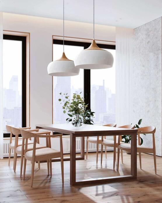 Lampara techo metal blanco efecto madera