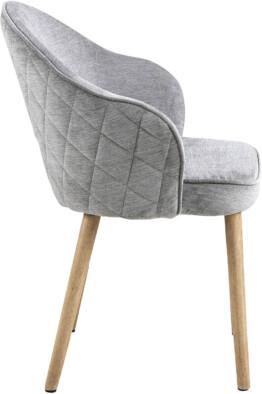 Silla comedor tapizada gris lateral