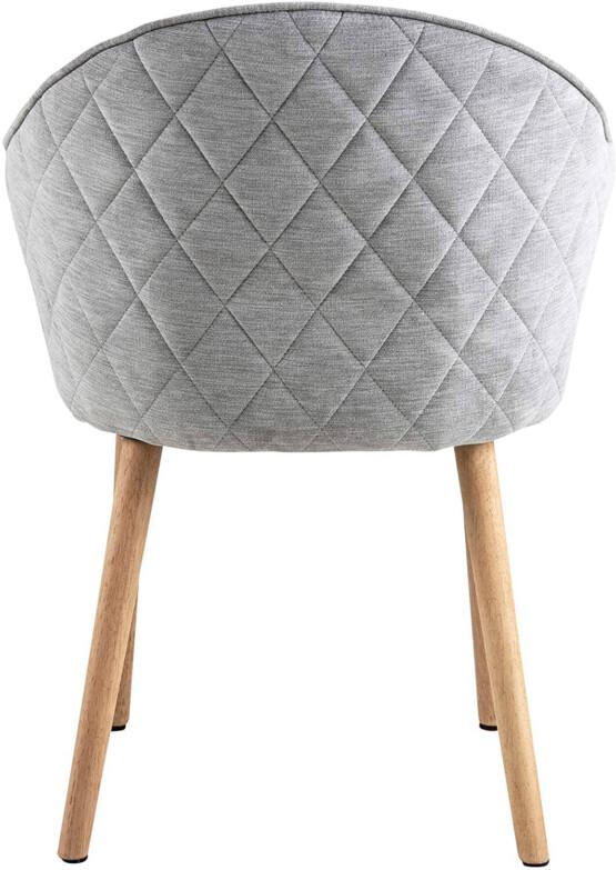Silla comedor tapizada gris trasera