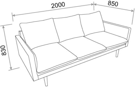 Sofá de 3 plazas Tela Gris Claro Movian ELI medidas