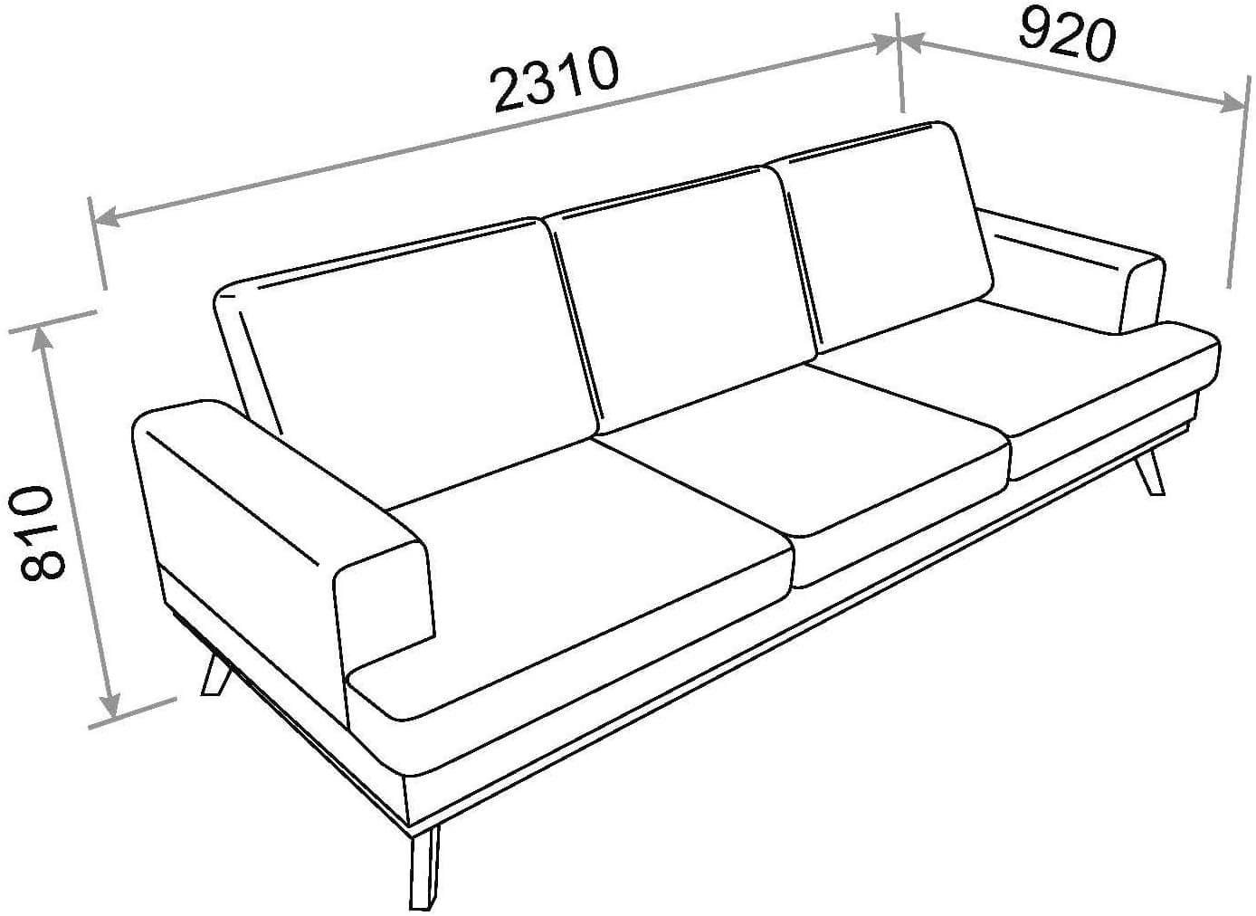 Sofa de 3 plazas Movian Rotsee medidas